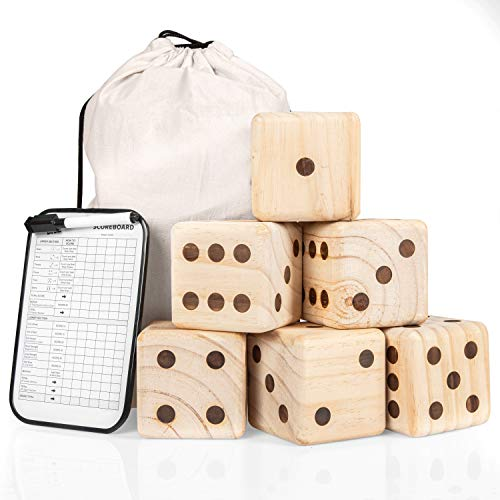 Barcaloo Giant Wooden Yard Dice - Yardzee Outdoor Game Set 3.5 inch- 6 Jumbo Dice, Scoreboard and Durable Carrying Bag - Fun for All Age and Occasion