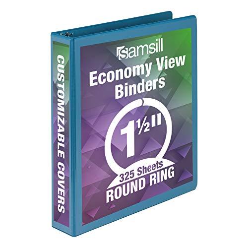 Samsill Economy 3 Ring Binder Organizer, 1.5 Inch Round Ring Binder, Customizable Clear View Cover, Light Blue Binder