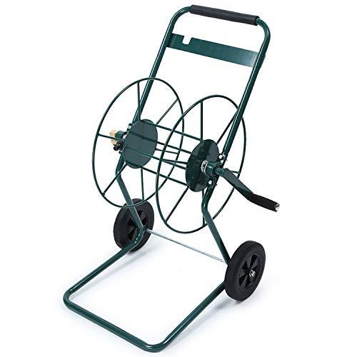 IKAYAA Schlauchwagen Gartenschlauch Rolle Zweiräder Trommelwagen Garten-Wasserwagen für Garten,Balkon,Autowäsche