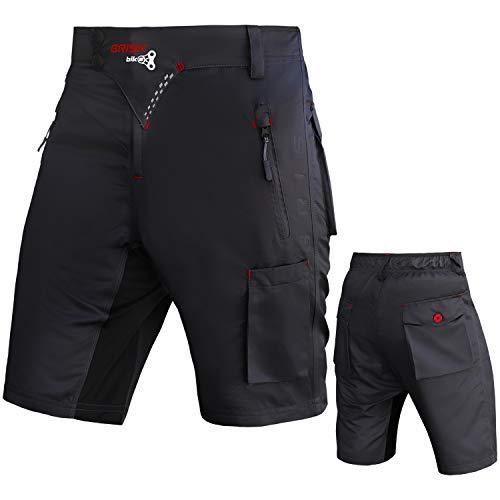 Brisk Bike MTB Shorts Modell 7 Gepolsterte MTB Shorts, Schwarz , L