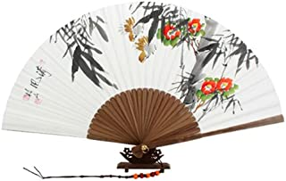 Hand Painted Folding Red Camellia Flower and Bird Painting White Paper Bamboo Art Wooden Asian Oriental Wall Deco Korean Handheld Decorative Fan