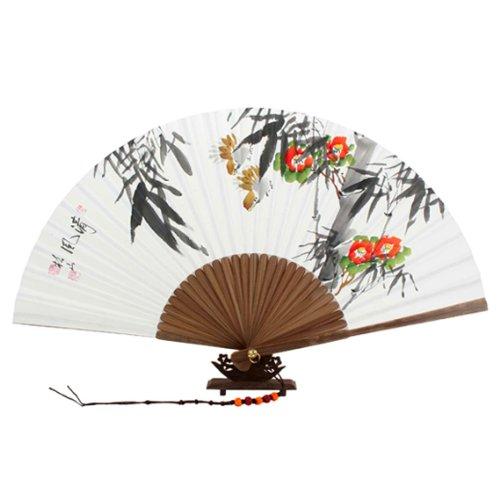 Handgeschilderd Vouwen Rode Camellia Bloem en Vogels Schilderen Wit Papier Bamboe Kunst Houten Aziatische Oosterse Muur Deco Koreaanse Handheld Decoratieve Fan