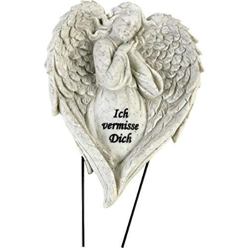 Onbekend grafdecoratieve steker, engel met vleugels 17x26x4,5cm, polyhars