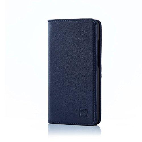 32nd Klassische Series - Lederhülle Hülle Cover für ZTE Blade L3, Echtleder Hülle Entwurf gemacht Mit Kartensteckplatz, Magnetisch & Standfuß - Marineblau