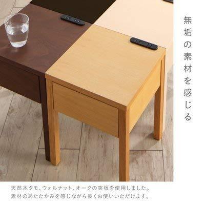 テーブルナイトコンセント・引き出し付き脚デザインナイトテーブルNORNノルンW30ナイトテーブルダークブラウン500032424132322