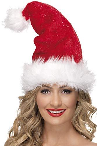 Smiffy's-25923 Gorro de Papá Noel, con espumillón, Deluxe,