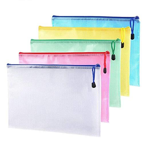5 piezas - Carteras de plástico Carpetas de documentos de malla A4 con cremallera para la escuela Oficina Archivo Tareas Bolsas de almacenamiento de viaje