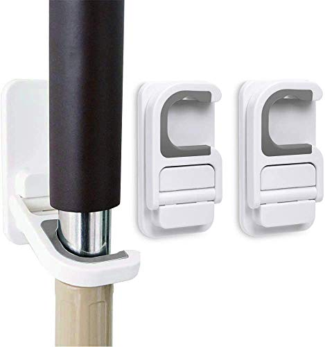 Tinkeep - Soporte para escoba y fregona, autoadhesivo, sin perforaciones, superantideslizante, para escoba y recogedor, soporte para montaje en pared, 3 unidades