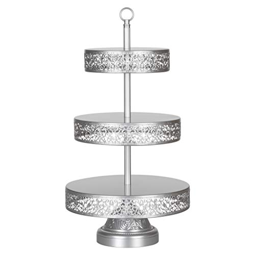 Amalfi Decor 3 Tier Dessert Cupcake Stand, Large Pastry Candy Cookie Tower Holder Plate for Wedding Event Birthday Party, Round Metal Pedestal Tray, Silver
