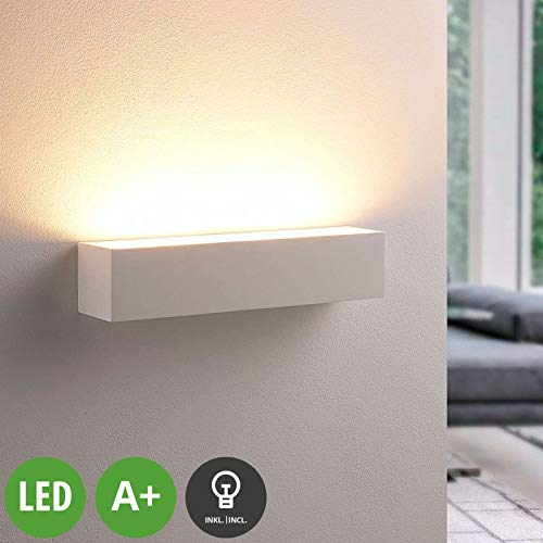 Lindby LED Wandleuchte, Wandlampe Innen 'Santino' dimmbar (Modern) in Weiß aus Gips/Ton u.a. für Wohnzimmer & Esszimmer (2 flammig, G9, A+, inkl. Leuchtmittel) - Wandstrahler, Wandbeleuchtung