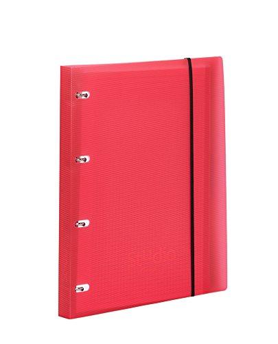 Pardo 822502 - Carpeta cuaderno de anillas con cierre de goma en polipropileno studio style, color rojo