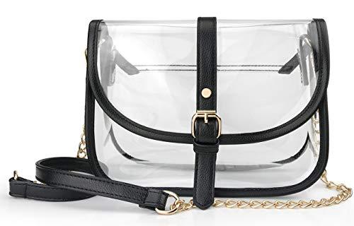 Clear Saddle Cross Body Bag Women Chain Shoulder Handbag Purse (Black)
