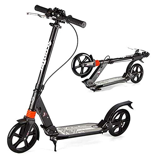 Review Of Goquik Adult Pedal Scooter with Hand Brake, Portable Lightweight Adjustable Commuter Scooter, Front and Rear Suspension, Support 330 Lbs, Non-Electric (Color : Black)