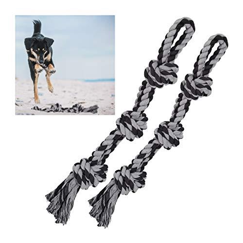 Relaxdays Hundespielzeug Seil, 2er Set, Zerrspielzeug große Hunde, robust, Kauspielzeug, 70 cm, Hundetau, schwarz/grau
