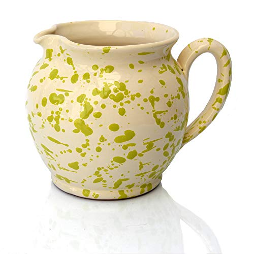 Colì, Brocca Bombata 15 cm Serie Screziati Verde, Brocca Acqua, Brocca Vino, Brocca e Caraffe da Tavola, Brocca Terracotta