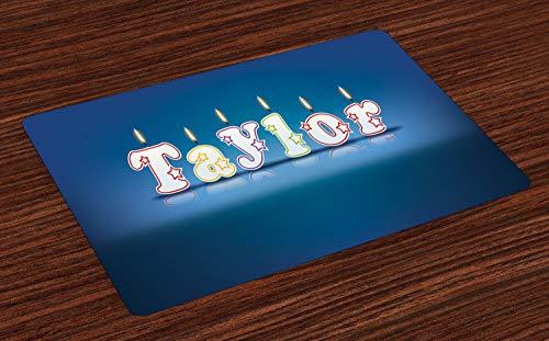 ABAKUHAUS Taylor Placemat Set van 4, Kaars van de viering Font, Wasbare Stoffen Placemat voor Eettafel, Blauw en Multicolor