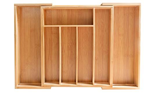 osoltus Bambus Besteckkasten ausziehbar 5-7 Fächer 29-45cm x 33,5cm