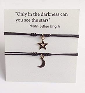 Moon and Star Friendship String Bracelet for 2 Gift for Friends