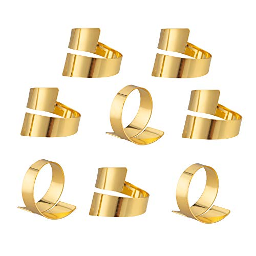 Feyarl Lot de 8 anneaux de serviette en métal doré pour décoration de table
