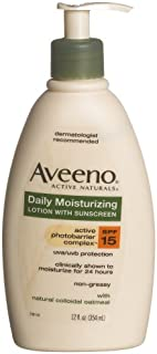 Aveeno Active Naturals Daily Moisturizing Lotion with SPF-15, 12-Ounce Pump Bottles (Pack of 3)