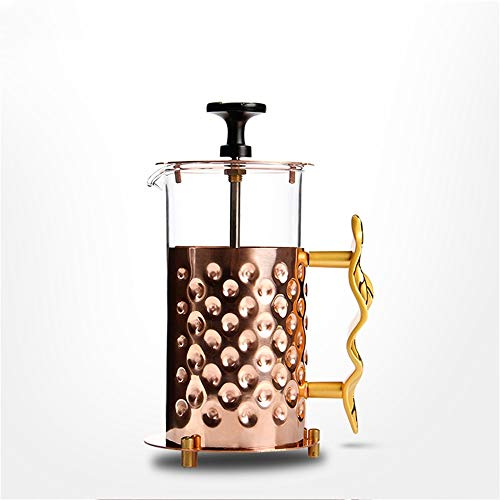 ZoSiP Caffettiere a Pistone French Press Manuale di Filtro delle Famiglie Press caffettiera Vaso di Vetro tè e caffè (Color : Copper, Size : 350ml)