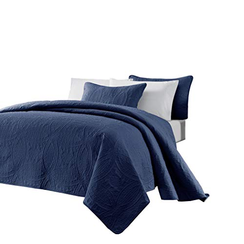 Chezmoi Collection Austin 3-Piece Oversized Bedspread Coverlet Set (King, Navy)
