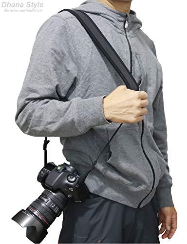 カメラネックストラップ一眼レフ・ミラーレス・コンパクトカメラ用クッション性ネオプレーン素材で肩への負担を軽減シンプルブラック