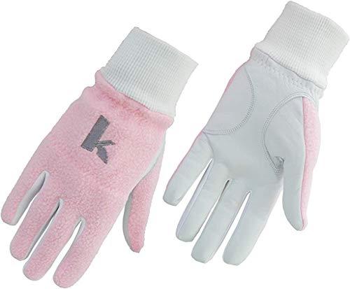 KPANG GOLF Damen Winter-Golfhandschuhe, Cabretta-Leder-Handfläche und rosa Polar-Fleece-Rückseite, Größe XS, M, L, XL, X-Large