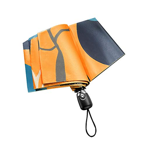 DTKJ Paraguas Plegable automático de la Lluvia o el Brillo del Paraguas para los Estudiantes, Paraguas de Viaje Compacto de Tela de Impacto, Regalo