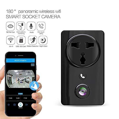 WXJHA WiFi Presa a Muro di Sicurezza, Abbigliamento Elegante Socket Videocamera HD 1080P Visione Notturna di Sicurezza Domestica di Movimento Compatibile con Android USB C,Nero