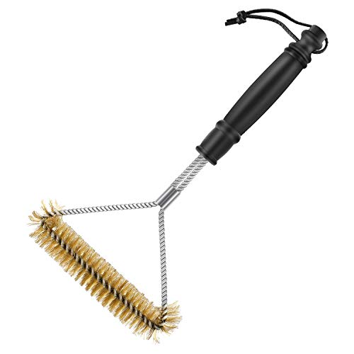 Grill Brush, SAELLEAS 12 Inch BBQ Brass Brush 3-Sided Barbecue Cleaner for Weber Gas/Charbroil Grates/Porcelain Best Wizard Tool&Gifts Stainless Steel Grill Scrubber with Bristles Wire