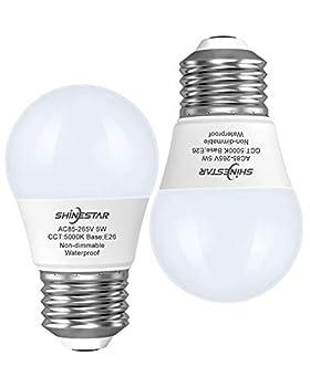 SHINESTAR 2-Pack LED Refrigerator Bulbs 40W 120V Daylight 5000K E26 Base A15 LED Appliance Light Bulb for Fridge Freezer Waterproof Non-dimmable