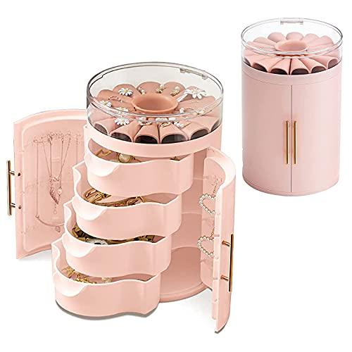 Organizador de Joyas con 4 Cajones, Caja Joyero Cilíndrico Decorativas Cajas Puerta Doble Portátil Joyero Viaje Cajas para Anillos Pendientes Collar Pulseras