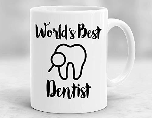 N\A La Taza de café Blanca del Mejor Dentista del Mundo de InterestPrint Taza de té, graduación Divertida del Doctor pediátrico Taza Futura del Cirujano Oral del café, Lindo del cumpleañ