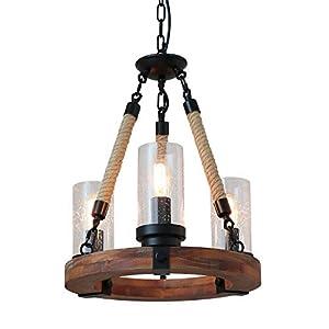Giluta Wooden Ring Hemp Rope Chandelier Retro Farmhouse Pendant Lighting Round Wagon Wheel Light Fixtures 3 Lights with Glass Shade, Brown (C0047)