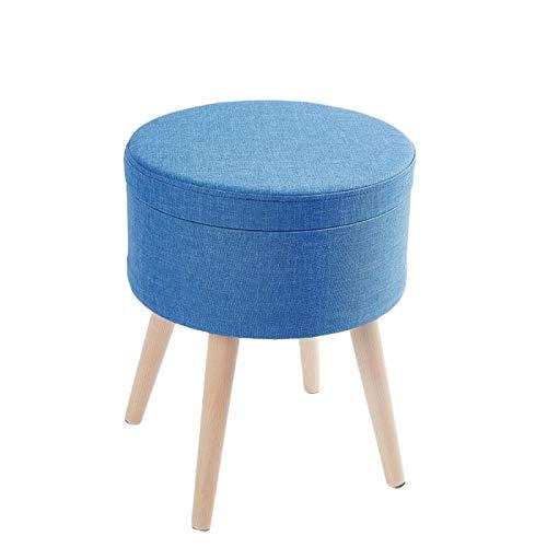 Zedelmaier Sitzhocker Aufbewahrungsbox Stuhl Ottoman Polstersitz aus Leinen und Massivholz (Blau)