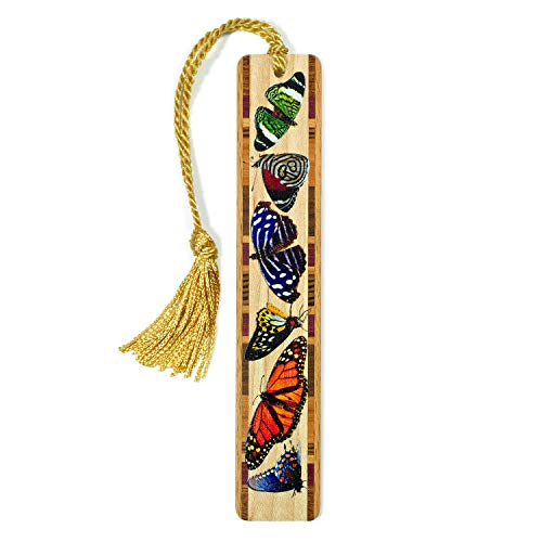 Mitercraft Butterflies Colorful Wooden Bookmark with Tassel - Search B0711FHXGP for Personalized Version