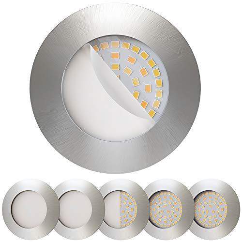 Scandinavian home 6er Set LED Einbaustrahler Dimmbar WarmDim 60mm - 70mm I Badezimmer geeignet I warmweiß 230V CRI 90 5,7W 480lm 3300K 68mm I Edelstahldesign mit Milchglas I LED Spot flach