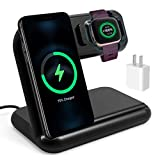 OenFoto 2 in 1 Wireless Charger Compatible with Fibit Versa 2 (Not for Versa) Adjustable Charging Stand Cable Station Dock for Fibit Versa 2 and Wireless Cell Phone (with QC 3.0 Adapter)