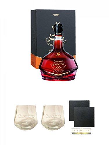 Carlos I Imperial 15 Jahre spanischer Brandy in GP 0,7 Liter + Carlos I Glas + Carlos I Glas + Schiefer Glasuntersetzer eckig ca. 9,5 cm Ø 2 Stück