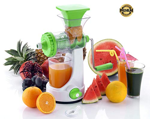 Shruti Fruit & Vegetable Juicer with Steel Handle, Manual Hand Juicer,with Strong Vacuum Base (Green)