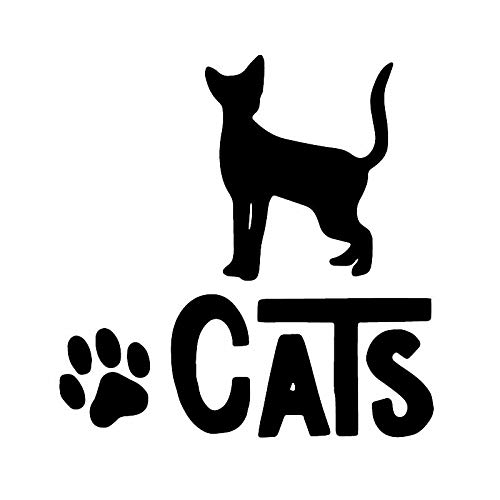 2 piezas de patrón 14.6X15CM Gatos animal etiqueta engomada del coche decoración de la ventana divertido etiqueta del vinilo Negro/Plata (Color Name : Black)