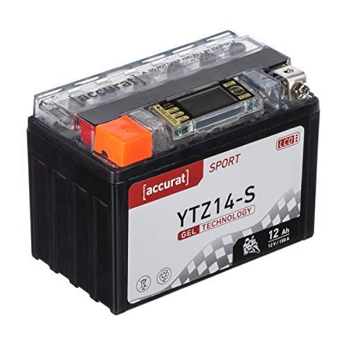 Accurat Motorradbatterie YTZ14-S 12Ah 150A 12V Gel Technologie + LCD Display Starterbatterie leistungsstark rüttelfest ABS geeignet wartungsfrei