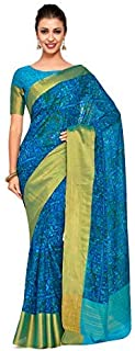 Kupinda Art Kalamkari Prints Saree with ikkat, pochampally and Kanjivaram Print Pattren ith Contrast Blouse Color: Turquoise (4241-C7-SALN-16-AND)