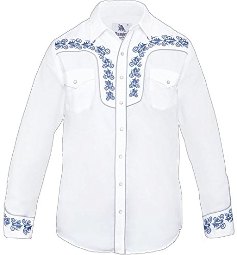 Modestone Men's Embroidered Long Sleeved Fitted Western Camicia Cowboy Filigree White S
