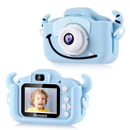Cámara Digital para Niños, Hommie 2.0' HD Camara Fotos Niña de Doble Lente 8MP/1080p, Cámara Digitale Selfie para Niña de Tarjeta 32GB, Regalo Ideal para Niños de 3-12 Años,Cámara para Niña, Azul