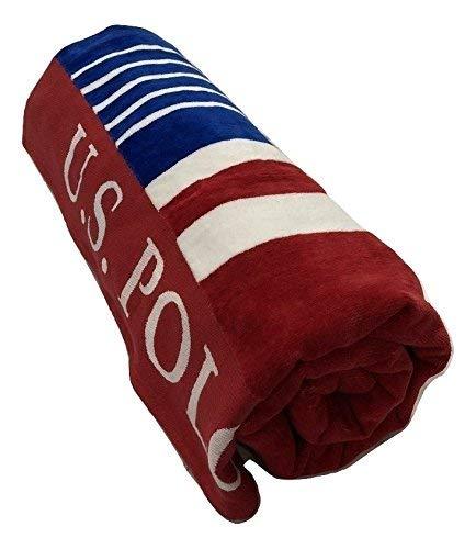 """U.S. Polo Assn. Large (40"""" x 70"""") Striped Nautical Design Lofty Beach Towel - Perfect for Beach, Pool, Boating, Gym, Camping & Outdoor Yoga and Pilates (Blue/Red/White)"""