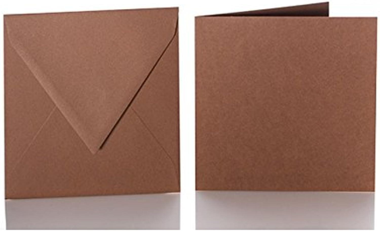 100 100 100 quadratische Briefumschläge 130 x 130 mm. 13x13 cm, 120 g m² mit Dreieckslasche  100 passende Faltkarten 125 x 125 mm, 240g, Farbe  31 Schoko B015PK9X6G | Kostengünstig  86665f