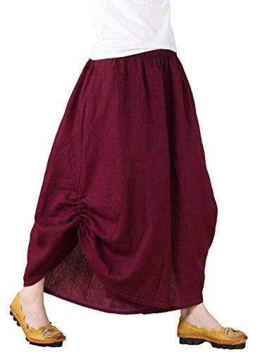 Vogstyle Las Mujeres de Algodón de Lino del Tamaño Extra Grande Irregulares Pantalones de Pierna Ancha Estilo 1 Vino Rojo M
