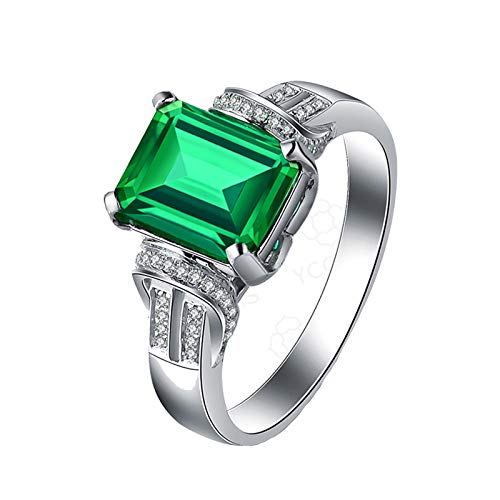 ANAZOZ Echtschmuck Damen Ring 18K Weißgold Solitärring 2.22 Karat Smaragd Rechteck Stein Eheringe Verlobungsring für Frauen Ring 750 Echtgold